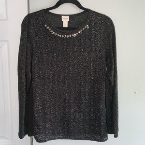 CHICOS - black and silver top - size 1 -medium